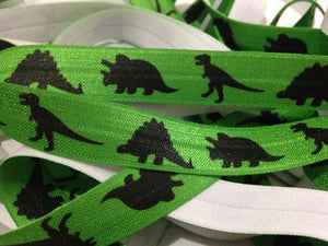 "Dinosaurs on Green 5/8"" FOE"