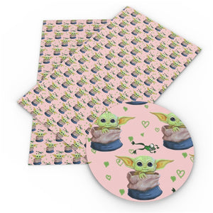 Baby Yoda on Pink Faux Leather Sheet