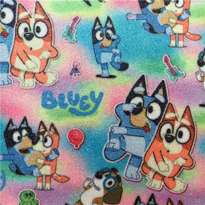 Bluey on Glitter Rainbow Litchi Faux Leather Sheet