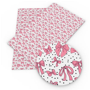 Bows Pink on White Faux Leather Sheet