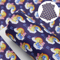 Care Bears on Navy Faux Leather Sheet