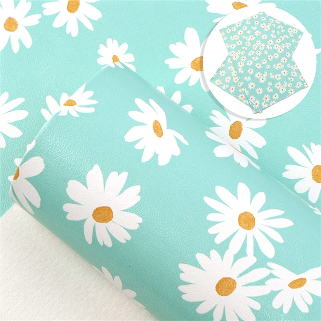 Floral Daisys on Mint Faux Leather Sheet