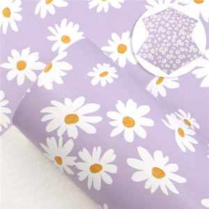 Floral Daisys on Purple Faux Leather Sheet