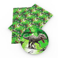 Dinosaurs on Green Faux Leather Sheet
