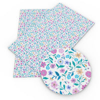 Floral Pretty & Teal Faux Leather Sheet