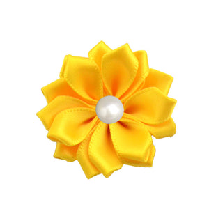 Satin Ribbon Flower with Pearl 3.8cm