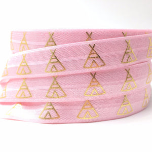 "Gold Foil TeePee on Pink 5/8"" FOE"