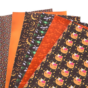 Halloween Orange Mixed Faux Leather Sheet Pack of 6