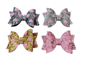 Hearts Glitter Bow Pack (4) with Clip