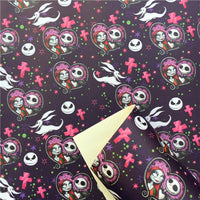 Jack & Sally on Purple Faux Leather Sheet