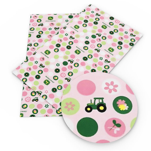 John D Pink Tractors Faux Leather Sheet