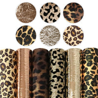 Leopard Print & Metallic Mix Faux Leather Full Sheet Pack of 6