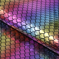 Rainbow Mermaid Scales Hologram Faux Leather Sheet