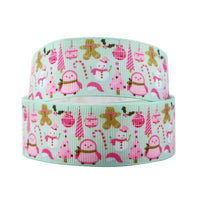 "Christmas Cartoon Pink on Mint 1"" Ribbon"