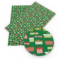 Christmas Presents on Green Faux Leather Sheet