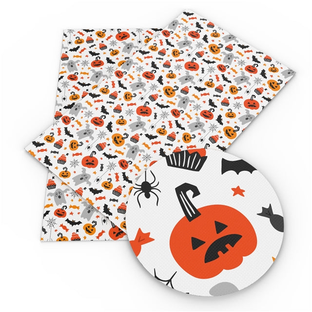 Halloween Pumpkins & Ghosts Faux Leather Sheet