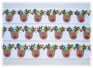 "Christmas Reindeer with Lights 7/8"" Ribbon"