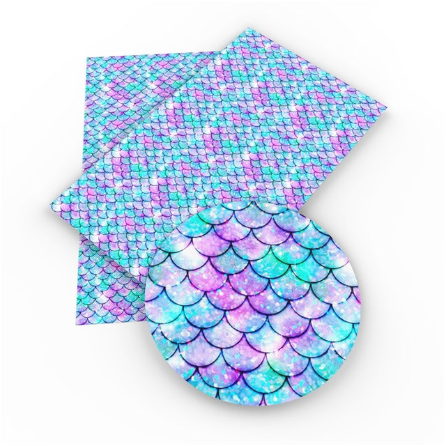 Mermaid Scales  Faux Leather Sheet