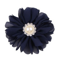 Chiffon Flower with Pearl/Rhinestone Centre 8cm
