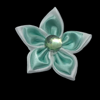 Double Satin Ribbon Flower with Rhinestone 5cm