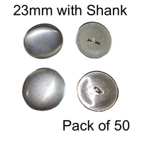 23mm Self Cover Buttons with Shanks (50)