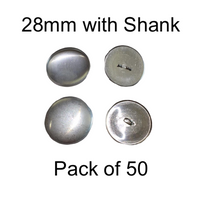 28mm Self Cover Buttons with Shanks (50)