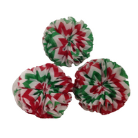 Christmas Chevron Chiffon Flower Unfinished  6.3cm