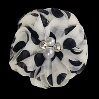Chiffon Spotted Flower with Pearl/Rhinestone Centre 5cm