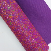 Neon Chunky Glitter Faux Leather Sheet
