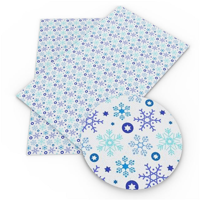 Snowflake Shades of Blue Faux Leather Sheet