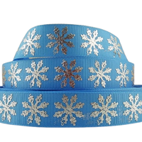 "Snowflakes Silver on Blue 7/8"" Ribbon"