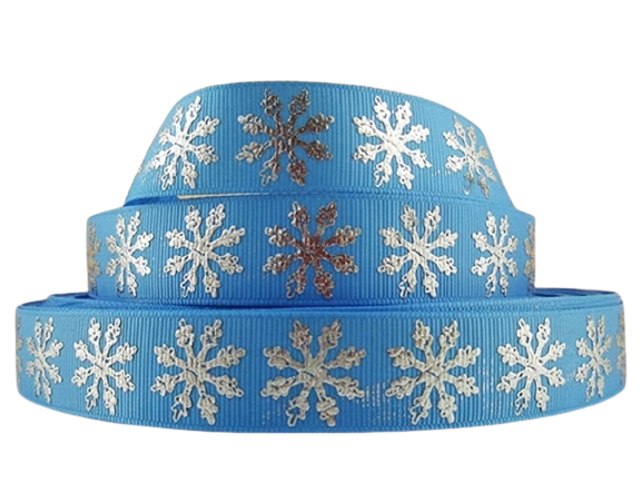 Snowflakes Silver on Blue 7/8