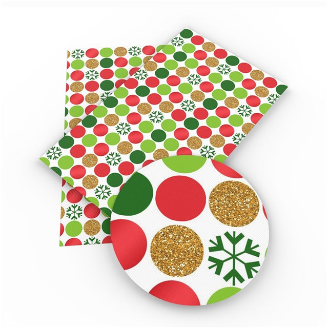 Christmas Spots Red & Green Glitter on White Faux Leather Sheet