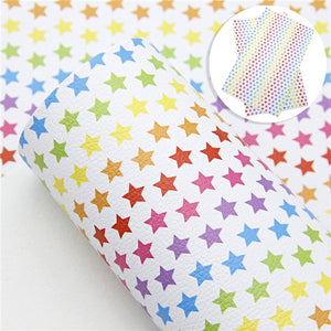 Stars Rainbow on White Faux Leather Sheet