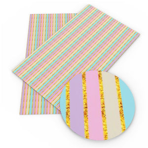 Stripes Pastel with Gold Faux Leather Sheet