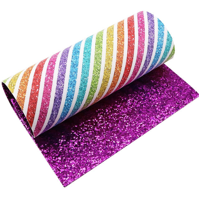 Rainbow Stripes with Magenta Glitter Double Sided Faux Leather Sheet
