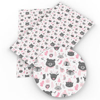 Woodland Critters Pink & Grey Faux Leather Sheet