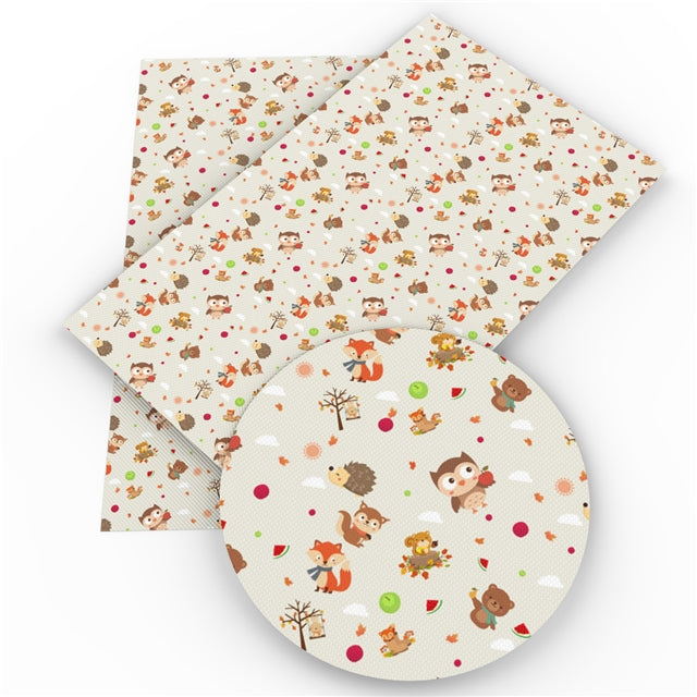 Woodland Little Critters on Cream Faux Leather Sheet