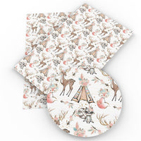 Woodland Critters on White Faux Leather Sheet