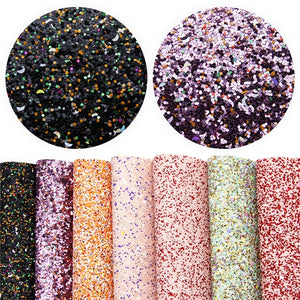 Pretty Chunky Glitter Faux Leather Full Sheet Pack of 7