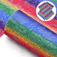 Rainbow Glitter Lace Faux Leather Sheet