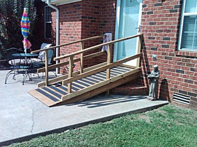 Small Custom Access Ramp for Rear Door with Slip-Reduction Strips