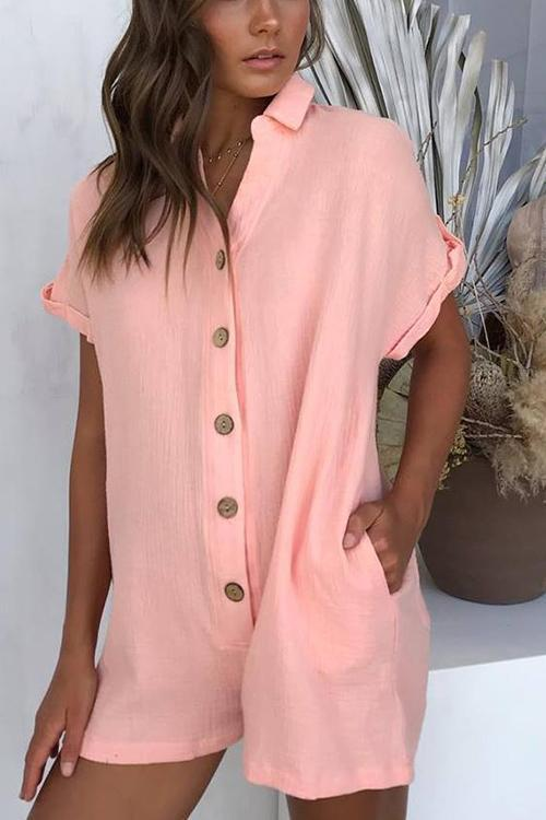 IceyChic Buttoned Romper(5 Colors)-IceyChic Fashion