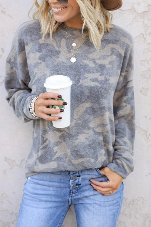 IceyChic Camo Crewneck Top-IceyChic Fashion