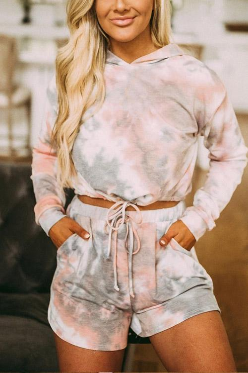 IceyChic Cropped Tie-Dye Hoodie Set-IceyChic Fashion