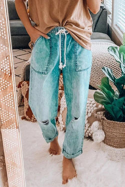 IceyChic Distressed Pocketed Cozy Jeans-IceyChic Fashion