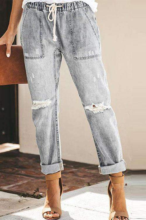 IceyChic Distressed Pocketed Denim Joggers(4 Colors)-IceyChic Fashion