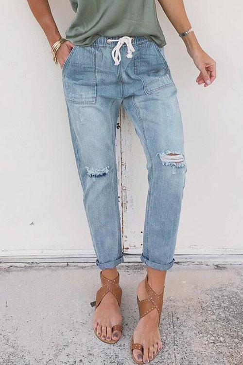 IceyChic Distressed Pocketed Denim Joggers-IceyChic Fashion