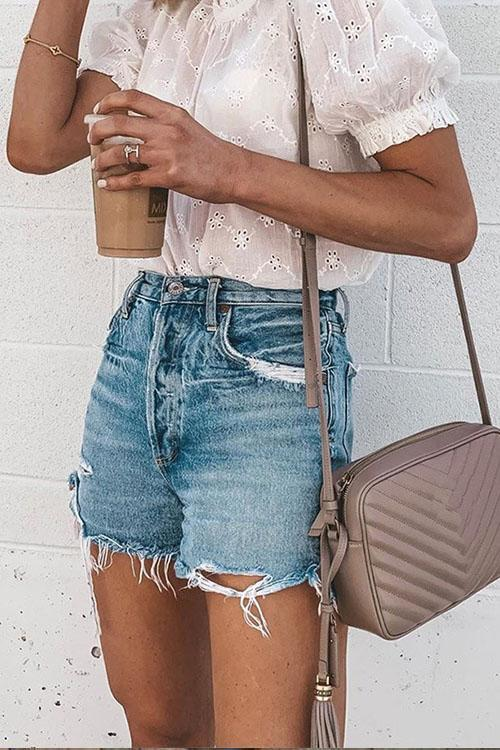 IceyChic Distressed Raw Hem Denim Shorts-IceyChic Fashion