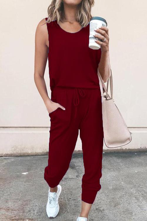IceyChic Drawstring Pocketed Jumpsuit (4 Colors)-IceyChic Fashion